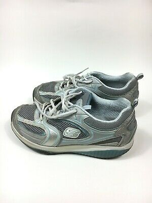 1cc33f9a7f24 Women s Size 8 Skechers Shape Ups Silver Blue Athletic Walking Casual Shoes