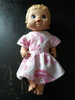 Homemade Little Baby Alive (33cm Doll) Pink with Unicorn Dress