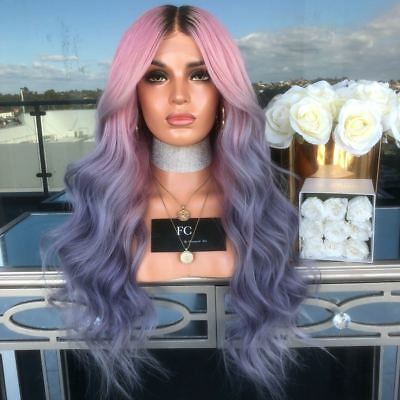 Ombre Purple Pink Fashion Synthetic Women Long Curly Hairstyle Hair Wig Cosplay