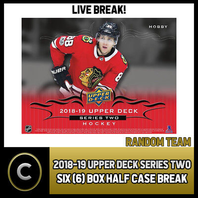 2018-19 Upper Deck Series 2 Hockey 6 Box (Half Case) Break #h303 - Random Teams