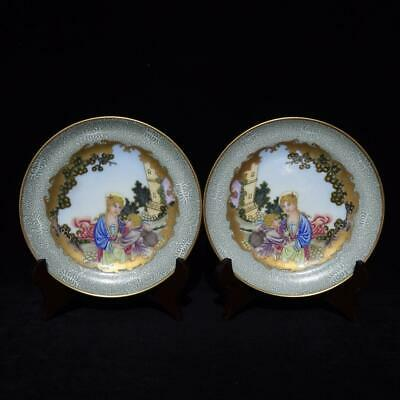 Chinese Exquisite Handmade Women child porcelain Color painting plate A Pair
