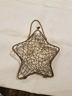 VINTAGE Gold/Brass Wire Metal Mesh Star Hinged Bottom Clasp Closure