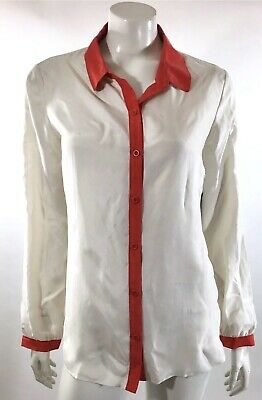6330584e12bb4b Trouve Womens Silk Top Size Medium White Coral Button Up Collared Shirt  Blouse