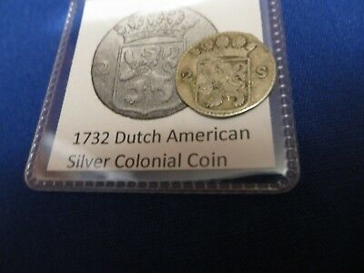 1732 Silver Early American Colonial Coin Before US Minted Coins FREE SHIPPING