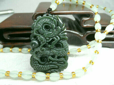 Chinese Natural Green Hand-carved Hetian Jade Pendant Dragon Necklace