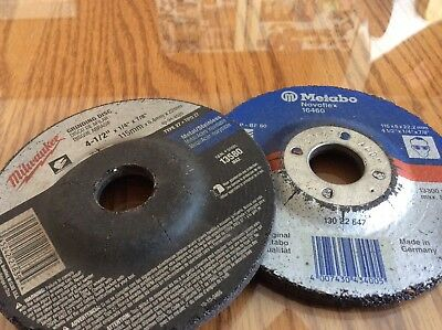 "Lot Of 2 4-1/2"" Inch Grinding Disc Wheel X 7/8"" Arbor X 1/4"" Thick"