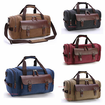 Men's Vintage Canvas Duffle Bag Gym Travel Tote Luggage Handbag Large Capacity