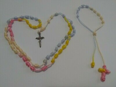Handmade Rosary And Single Decade Bracelet (Color Pink, White, Blue & Yellow)