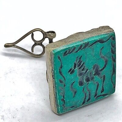 Middle East Islamic Turquoise Intaglio Seal Silver Tone Medieval Ancient Style