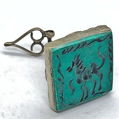 Middle Eastern Islamic Turquoise Intaglio Seal Silver? Medieval Or Ancient Style