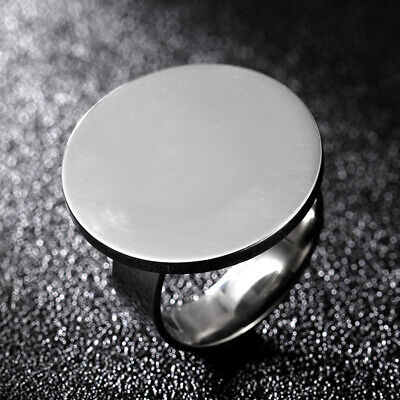 15mm Round Smooth Band 6mm Women Men's 316L Stainless Steel Silver Ring Sz 6-10