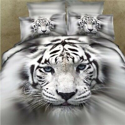 Single/KS/Double/Queen/King/Super K Soft Quilt/Duvet Cover Set-White Tiger