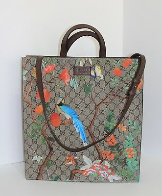 7ddf108a1618 Gucci GG Supreme Tote in Tian / Bird & Floral Print with Brown Leather Trim