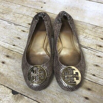 06edc21abf5 Tory Burch Reva Snakeskin Reptile Ballet Flats 8 Gold Leather Gold Logo  Buckle