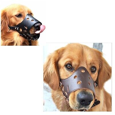 Dog Mouth Mask Adjustable Anti-biting Soft PU Leather Mesh Cover Muzzles For Pet