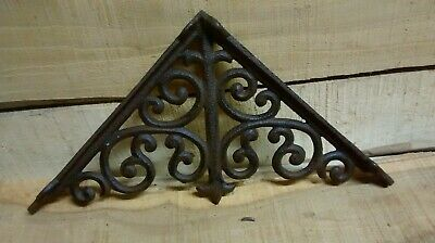 2 cast iron  Large ANTIQUE VICTORIAN STYLE SCROLL BROWN Shelf Brackets