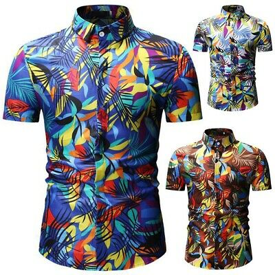 Fashion Men Summer Floral Shirt Flower Printing Short Sleeve Luxury Dress Shirts