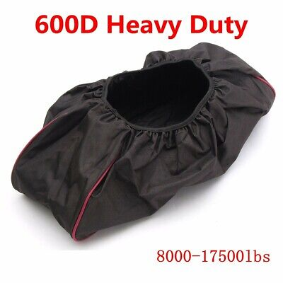 Black 600D Soft Waterproof Winch Dust Cover Driver Recovery 8,000 -17,500 Ibs US