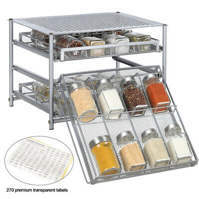 Metal 3Tier Tilt down 24 bottles Kitchen Spice Rack Seasoning Rack Drawer Silver