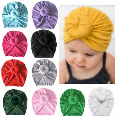 Baby Soft Turban Headscarf Hat Kids Solid Knotted Indian Pullover Cap New