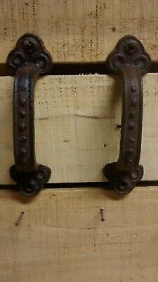 2 Cast Iron Rustic Cabinet Door Handle or Gate Pull Decor Handle Brown color