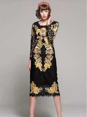 Vintage Womens Gold Embroidery Slim Black Lace Hollow Out Sexy Long Dresses New