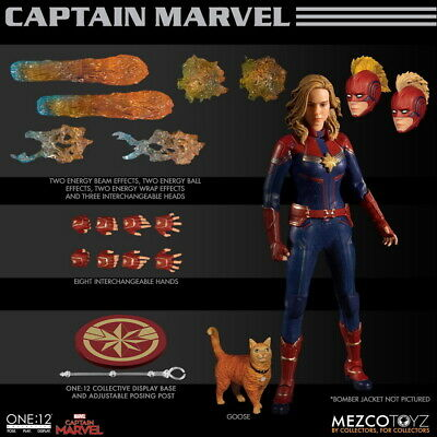 Mezco Toyz 1/12 Scale Captain Marvel Action Figure With Pet Cat Goose