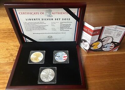 United States of America 2012 Liberty Silver Dollar Coin Set - 3x 1oz .999 Ag