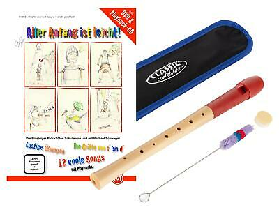 School Recorder Descant Soprano Flute German Fingering Maple Bag & Cleaning Rod