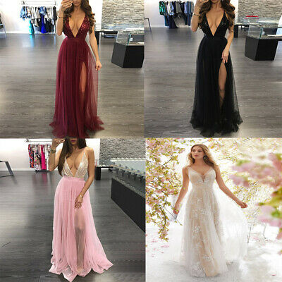 Women Lace Deep V Neck Backless Evening Wedding Party Prom Long Maxi Dresses AU