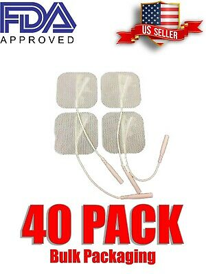 40 Replacement Pads for Massagers Tens Units electrode 2x2Inch White Cloth-Bulk