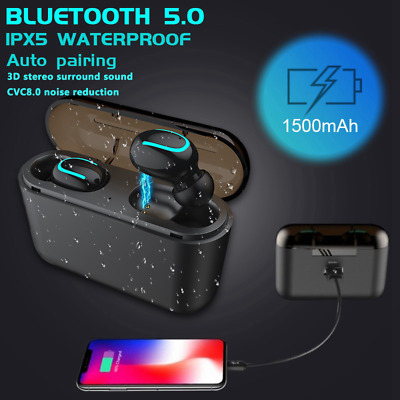 TWS Wireless Earphones Bluetooth 5.0 Earbuds Noise Cancelling IPX5 Waterproof