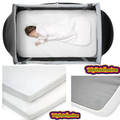 2 x Travel Cot  Fitted Sheets White 102 x 72 cm Premium Quality 100/% Cotton