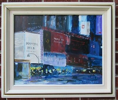 American MODERNIST Cityscape NEW YORK Times Square Oil PAINTING  STAN THOMSON