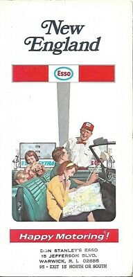 1971 ESSO HUMBLE OIL Road Map NEW ENGLAND Massachusetts Connecticut Maine Boston