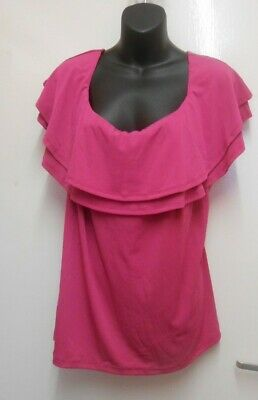 V by very Double Layer Frill  Neck Top PLUS Size 24 PINK new with tags