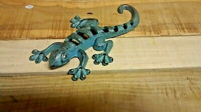 Cast iron Nautical Lizard with Cut Outs,  Pond Statue Hanging Art Bronze Green