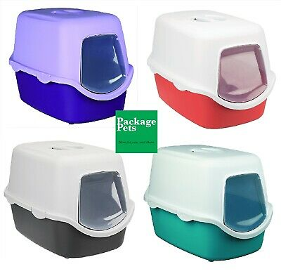 Hooded Litter Tray Vico Cat Kitten Trixie Easy Clean Hygienic with Door Flap NEW