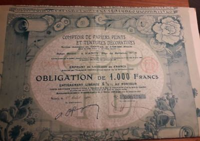 RARE obligation de 1000 frs NANCY COMPTOIR PAPIERS PEINTS TENTURES DECOR