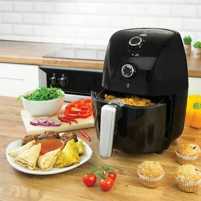New Compact Air Fryer With 30 Minute Timer Faster Efficient Cooking Black 1.7L