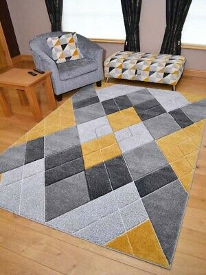 New Modern Thick Soft Grey Silver Mustard Gold Ochre Floor Mats Rugs 3D Carpet
