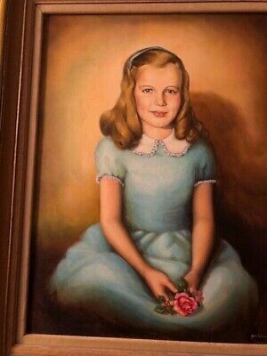 Vint. Oil  Painting Portrait Signed by J. Watson Framed Young Girl With Flowers