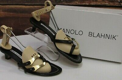 464f7be3dde2f MANOLO BLAHNIK, Women Slip On Black Leather Sandal w Kitten Heel Size 8.5  470000