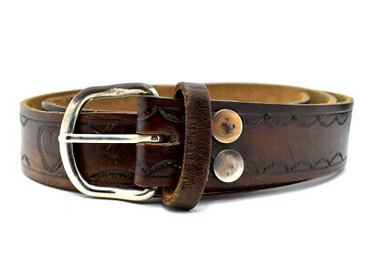 Vintage Handmade Mens Real Leather Belt Brown Size 38