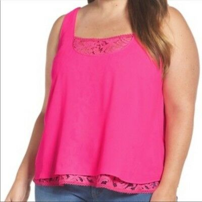 887640c1acf Rachel by Rachel Roy Neon Pink Lace Layered Top Plus Size 1X Sleeveless Tank