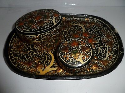 Antique Hand Made Hand Painted Islamic Middle-Eastern Paper Mache Tray w/ Boxes