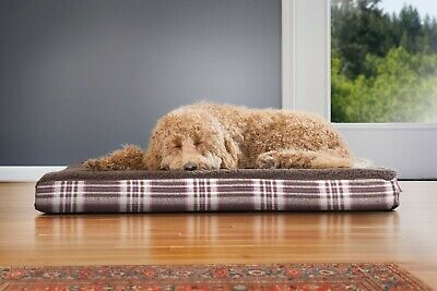 FurHaven Pet Faux Sheepskin & Plaid Deluxe Orthopedic Mat Dog Bed