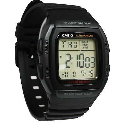 Casio W96H-1BV, 50 Meter WR Chronograph Watch, Alarm, Black Resin Strap, Date
