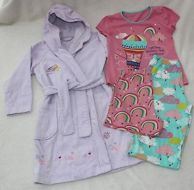 M&S Lilac Towelling Dressing Gown & George PJ's Age 4-5 years Bundle