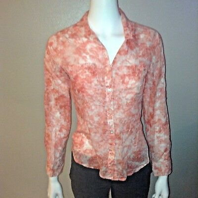e81add34d Talbots Button Down Shirt Size 6P Petite Womens Orange Pastel Peach Blouse